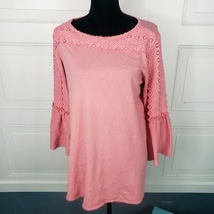 Alfani Bell Sleeve Lace Pink Peasant Tunic